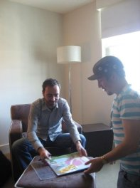 James Mercer signs my vinyl copy of Chutes Too Narrow. Classic album. This image was taken by Sean Roche.