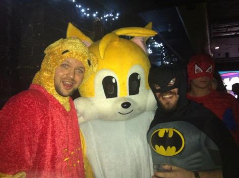 COMICAL BEHAVIOUR: Naggy as Pooh Bear, Oscar as Tails and yours truly as The Caped Crusader. Spiderman, aka Oliver, on photobomb duty.
