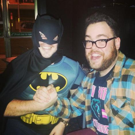 BATMAN AND BEN: A picture dressed as Batman and Ben Mitchell, taken at Music and Movie Trivia.