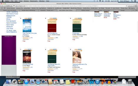 Enormity reached #7 on Amazon's science fiction ebook charts.